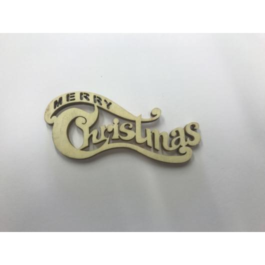 Fa díszes Merry Christmas fafelirat
